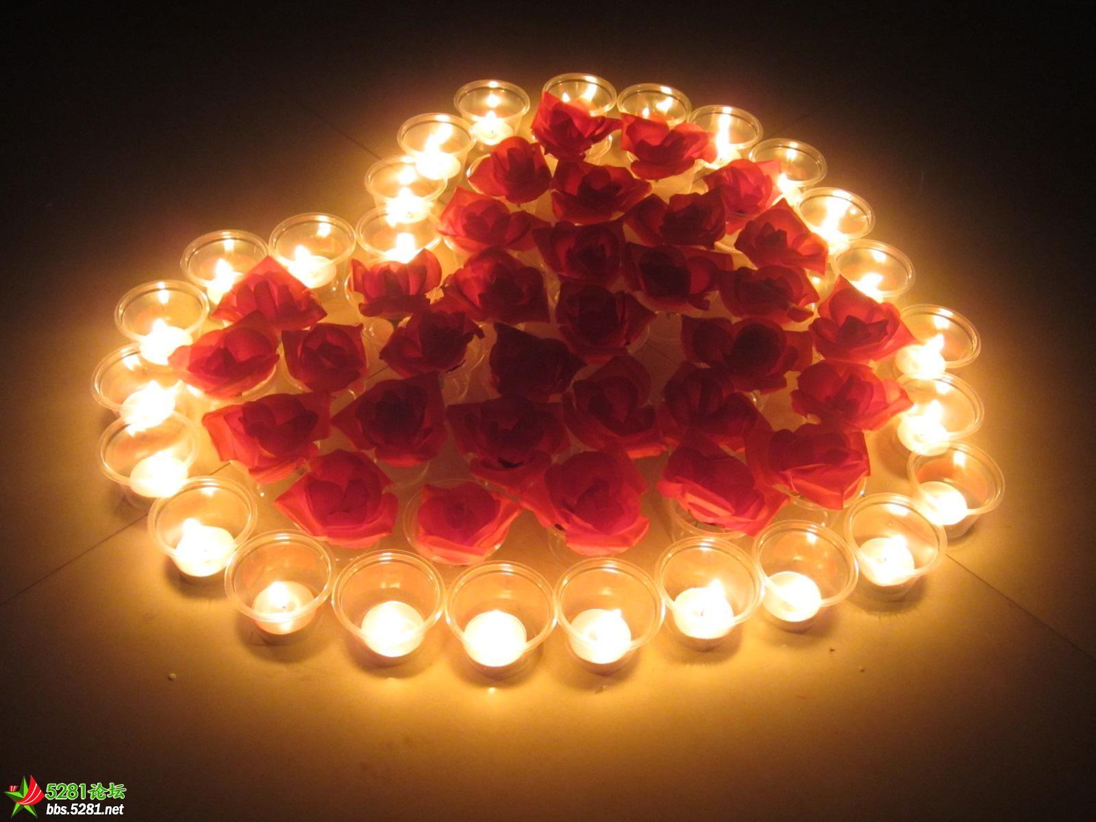 浪漫蜡烛摆放展示
