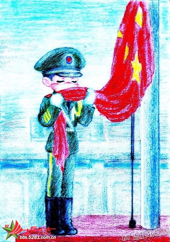 蜡笔画《军人风采》